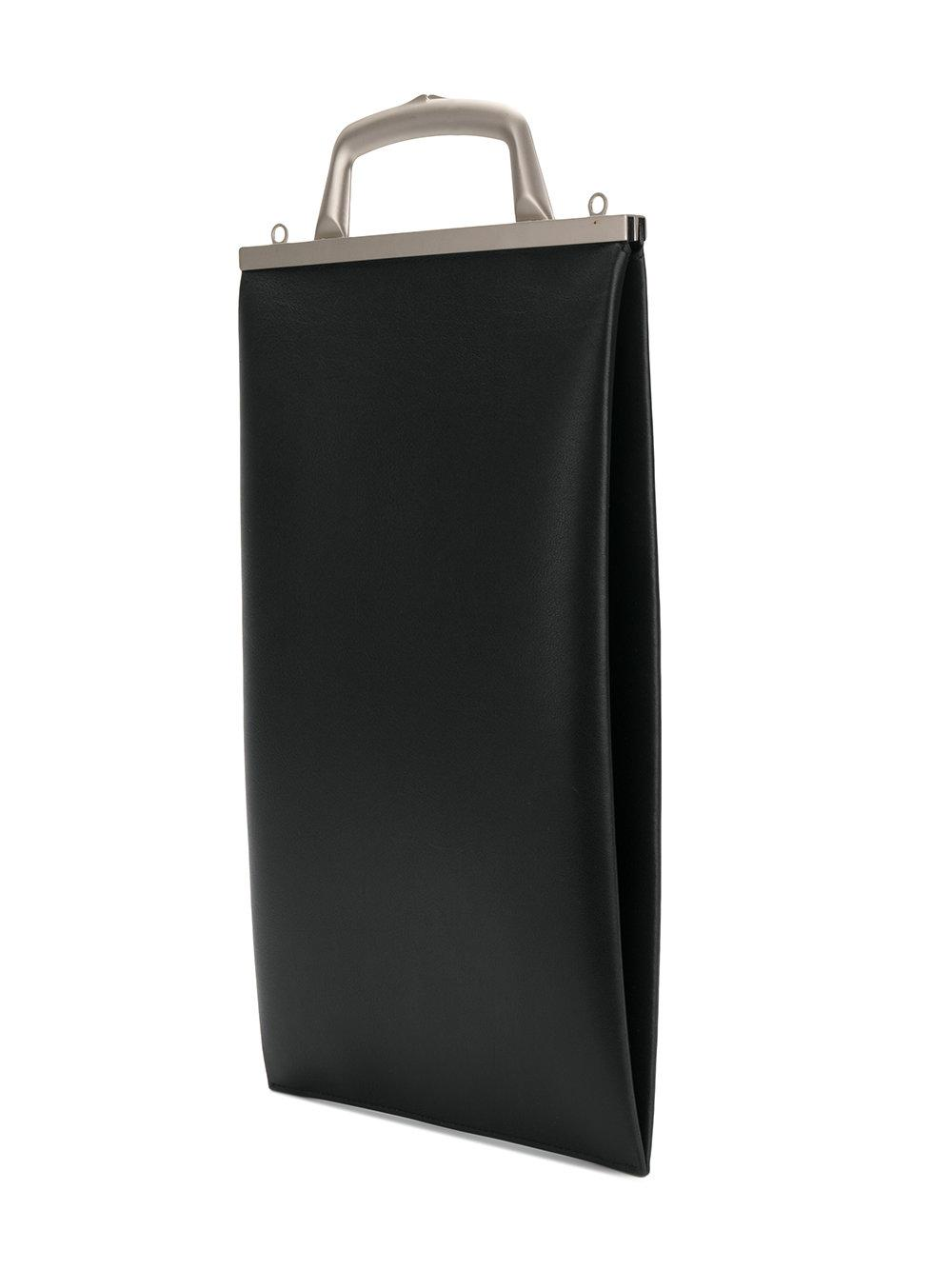 Off-White c/o Virgil Abloh Leather Text Market Tote Bag in Black