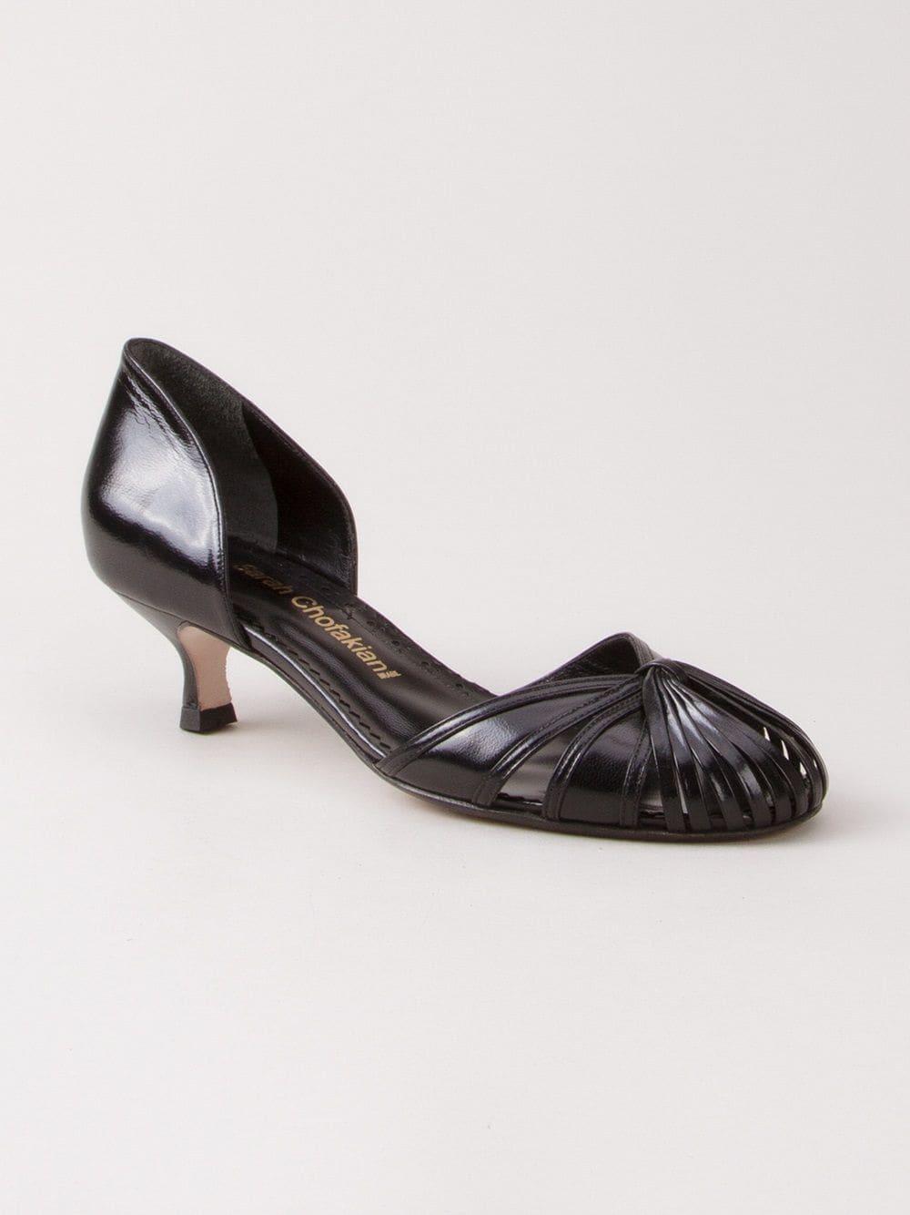 Zapatos con tacón bajo Sarah Chofakian de Cuero de color Negro