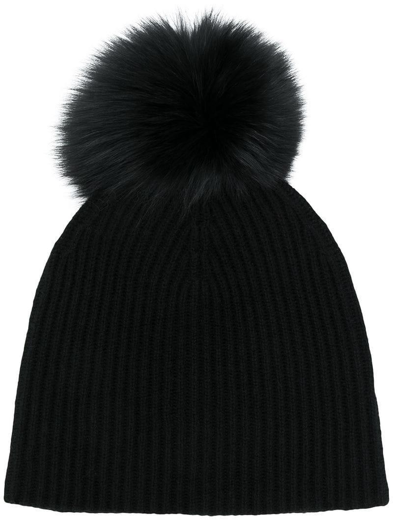 1c644789cfd Yves Salomon Knit Pom Pom Beanie in Black - Lyst