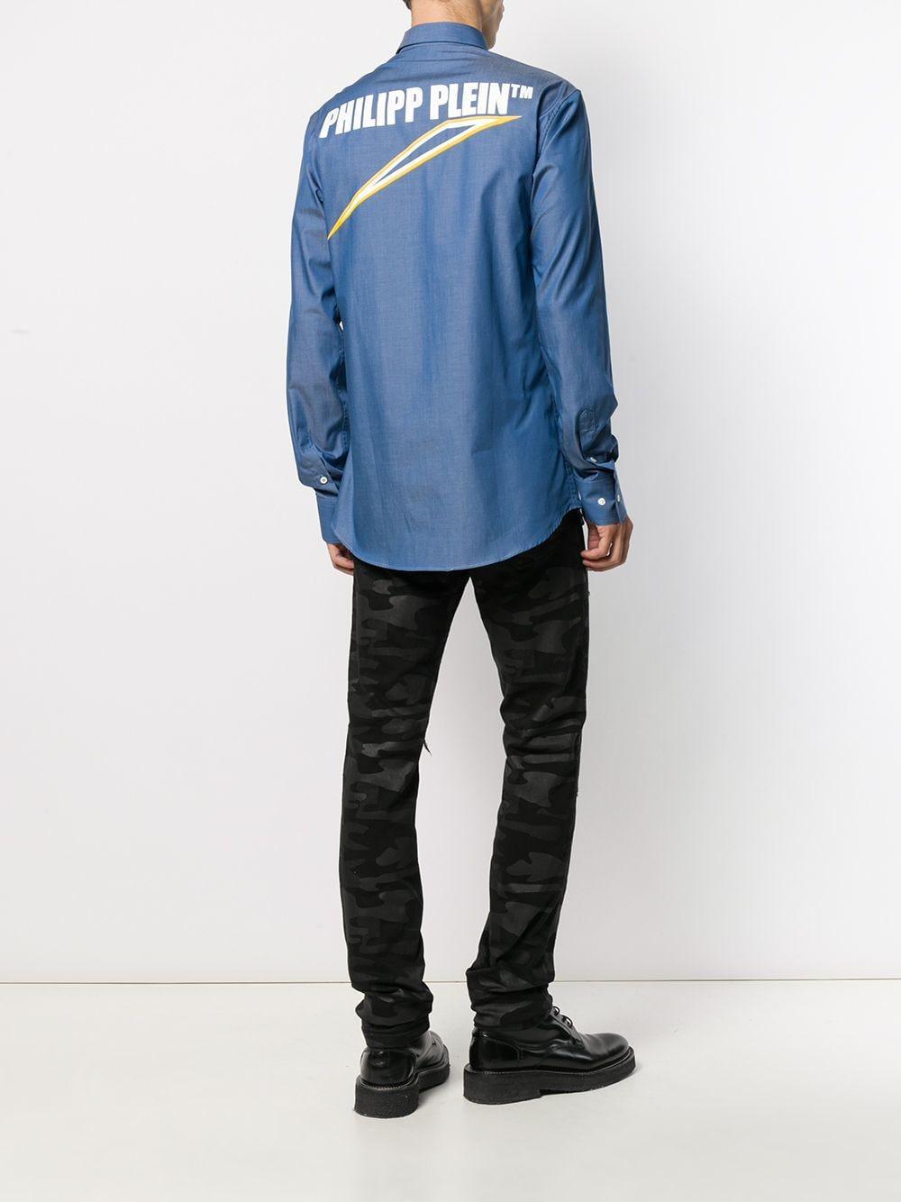 Philipp Plein Katoen Overhemd Met Logo in het Blauw voor heren