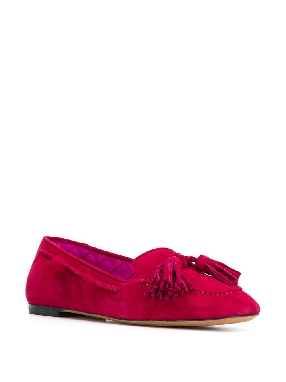 Mocasines con detalles de borlas Etro de Cuero de color Rojo