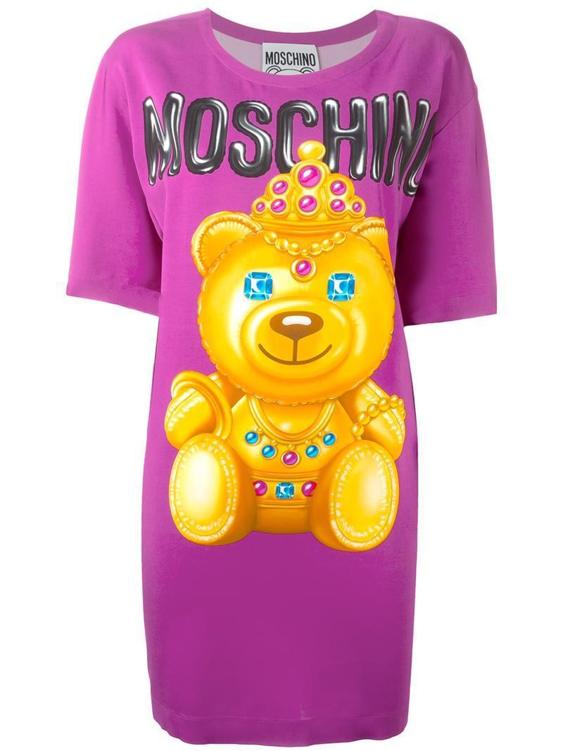 bear print T-shirt dress - Pink & Purple Moschino 7HylCTcfGS