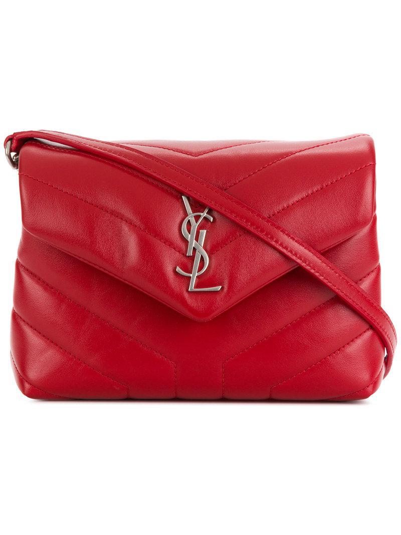 9cd29fb233 Saint Laurent Monogram Loulou Shoulder Bag in Red - Lyst