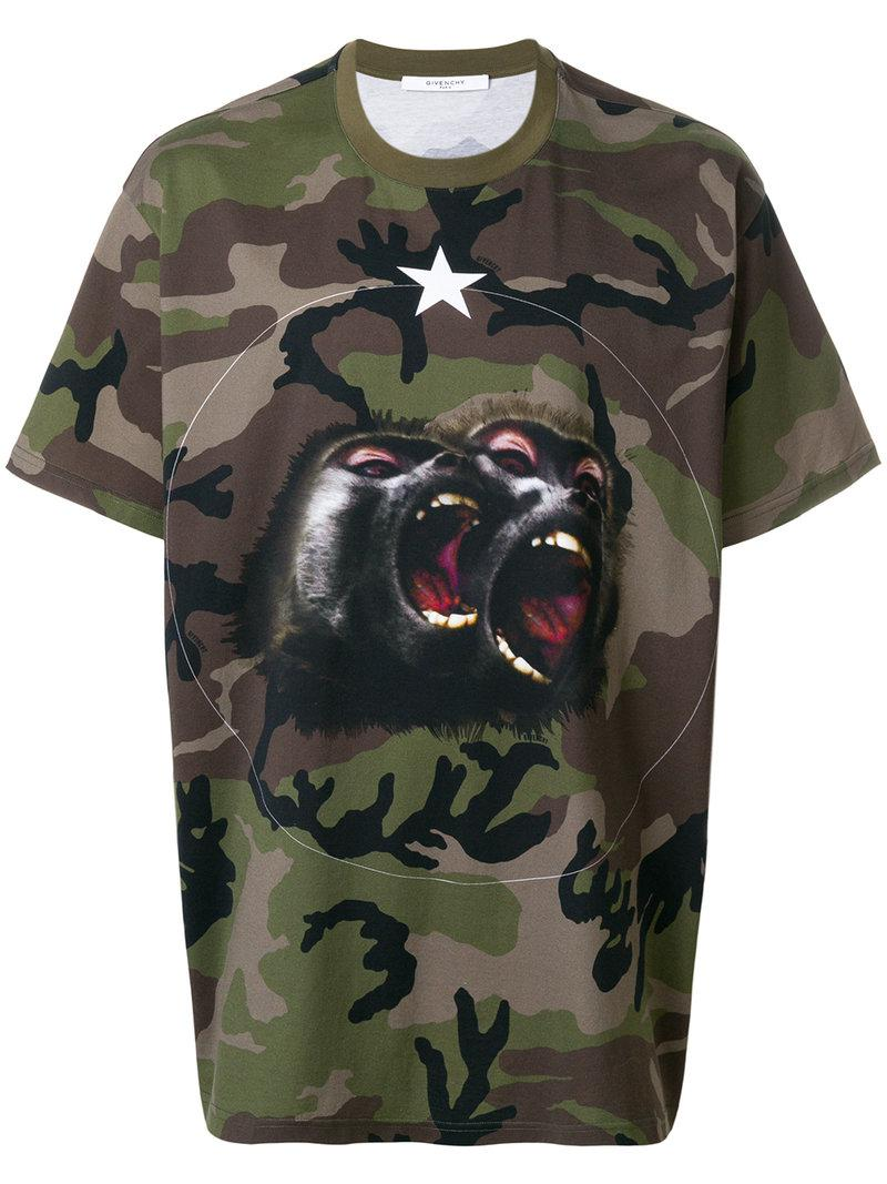 Givenchy. Men's Green Columbian-fit Monkey Brothers T-shirt