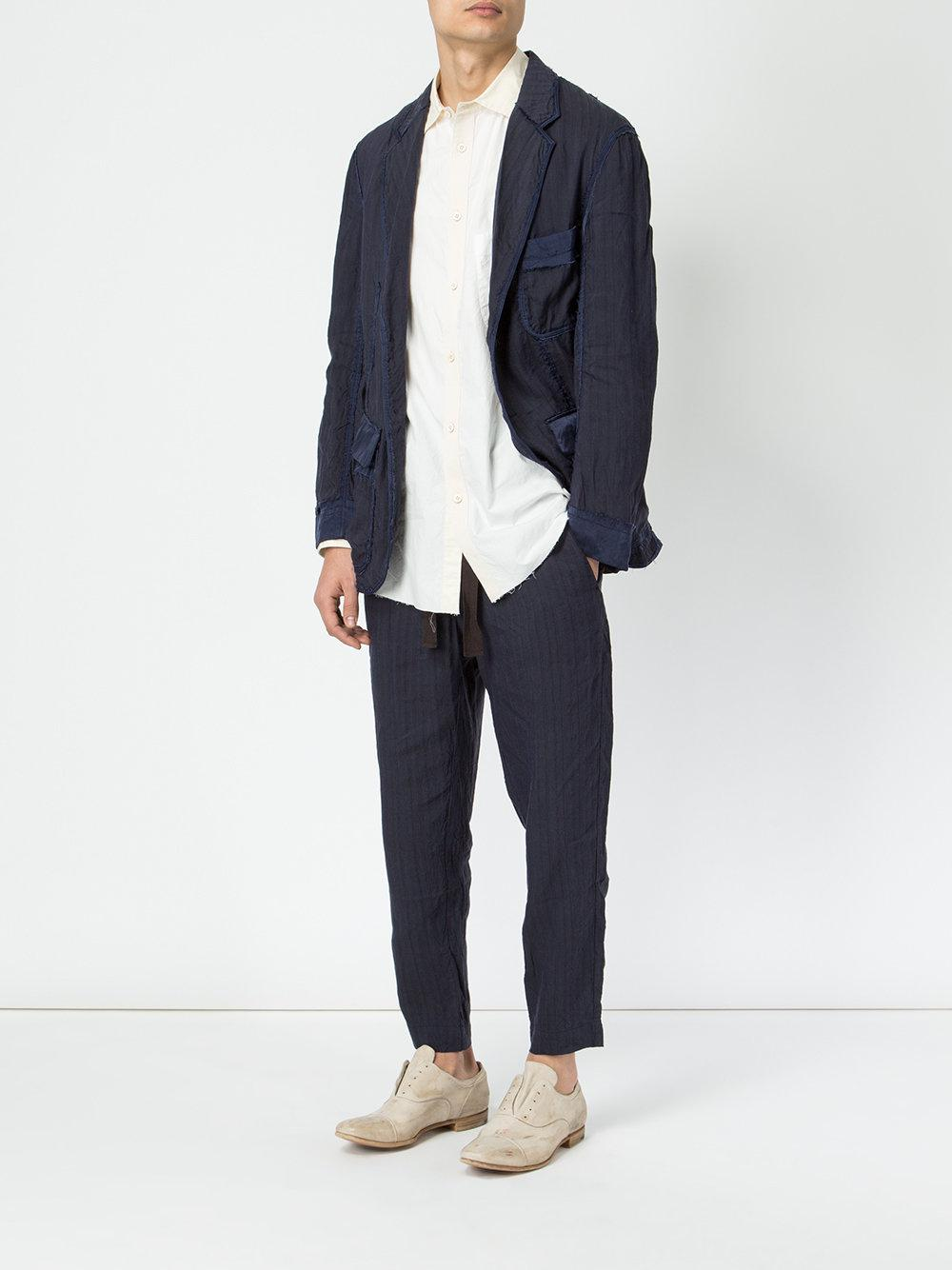 Ziggy Chen Cotton Straight Trousers in Blue for Men
