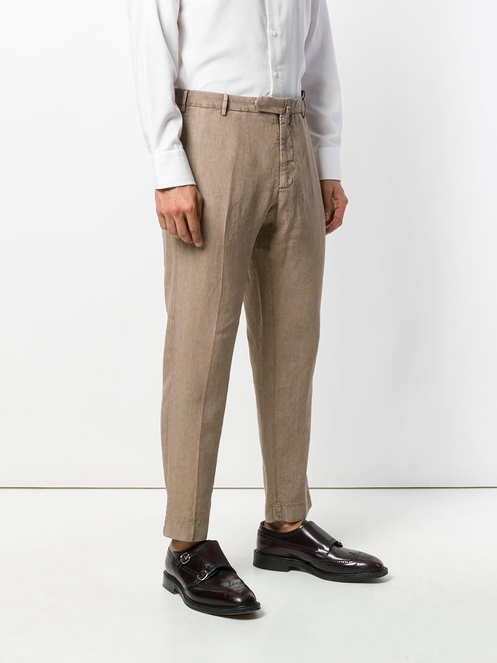 Dell'Oglio Linen Tailored Fitted Trousers in Natural for Men