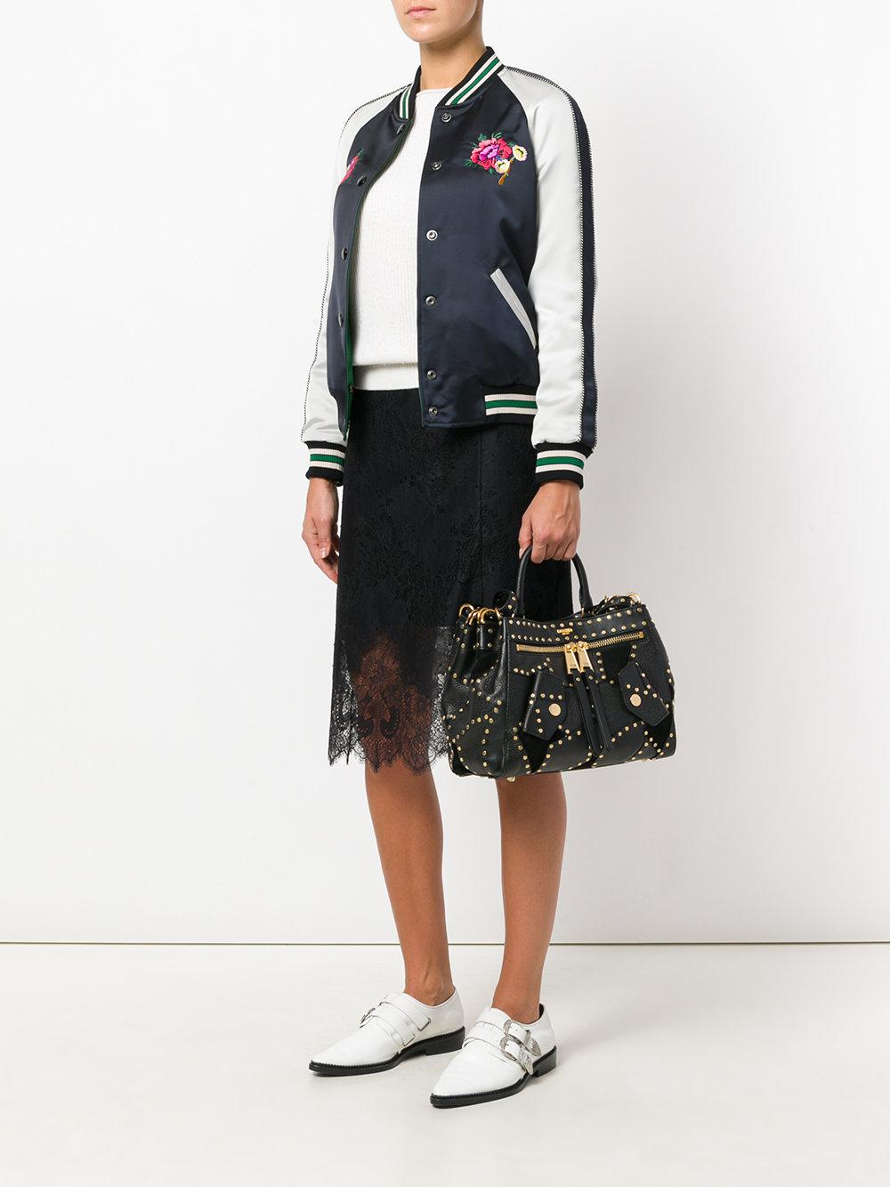 Moschino Leather Studded Tote in Black