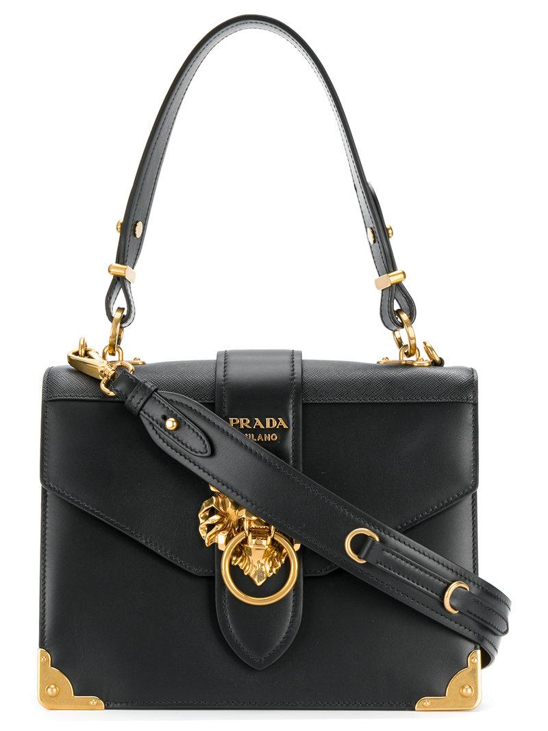 b84def59eff9 wholesale lyst prada cahier lion embellished shoulder bag in black 1f5df  11f74