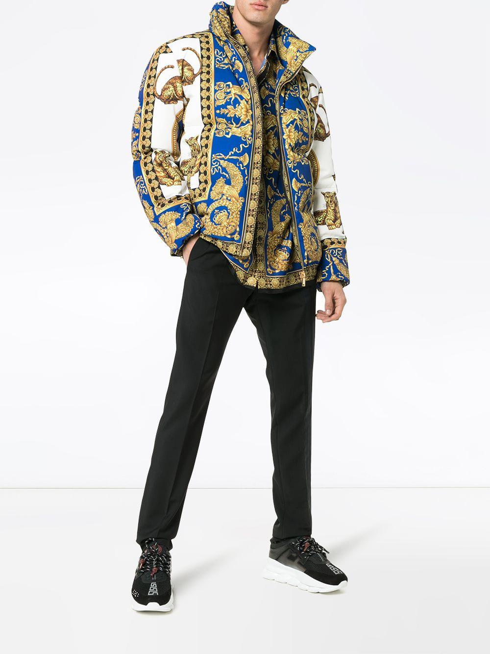 Versace Synthetic Signature Baroque Feather Down Puffer Jacket in Blue for Men