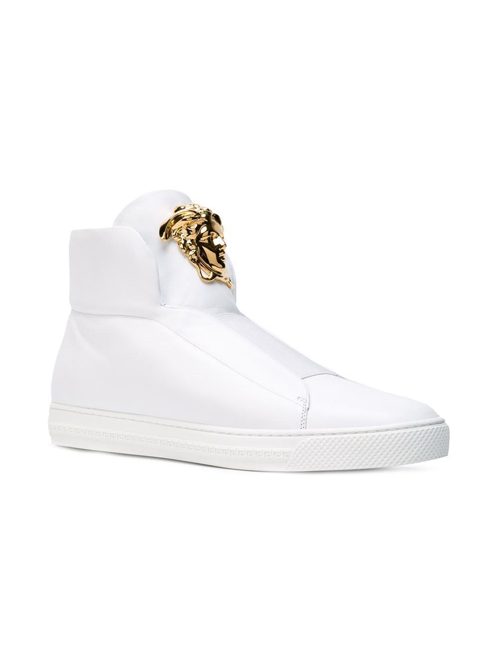 Versace White Medusa Hi-top Sneakers for men