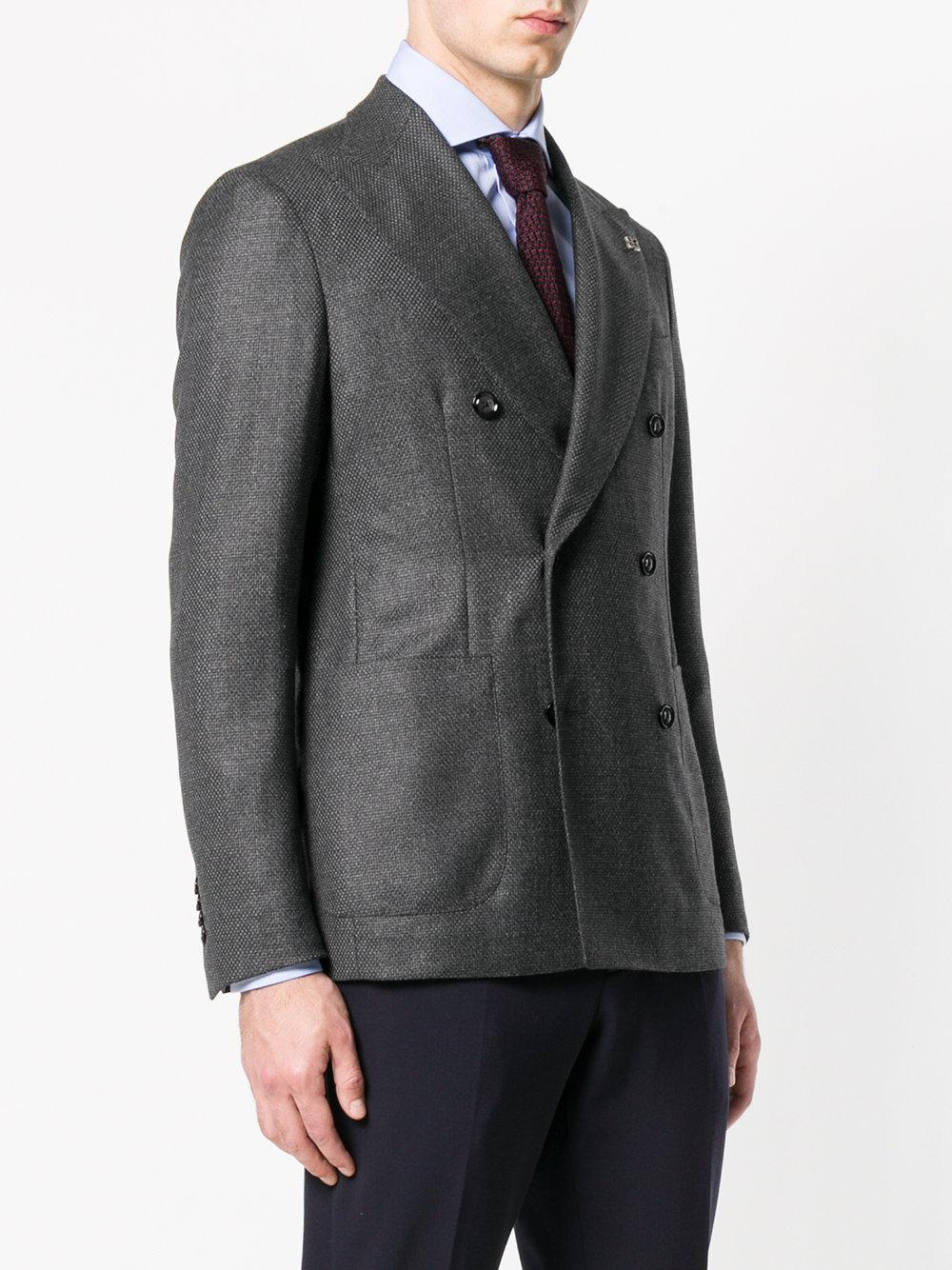 Tagliatore Wool Double Breasted Suit Jacket in Grey (Grey) for Men