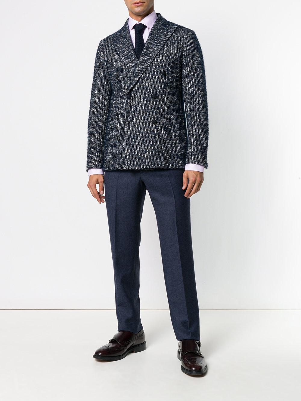 PT01 Wool High Rise Trousers in Blue for Men