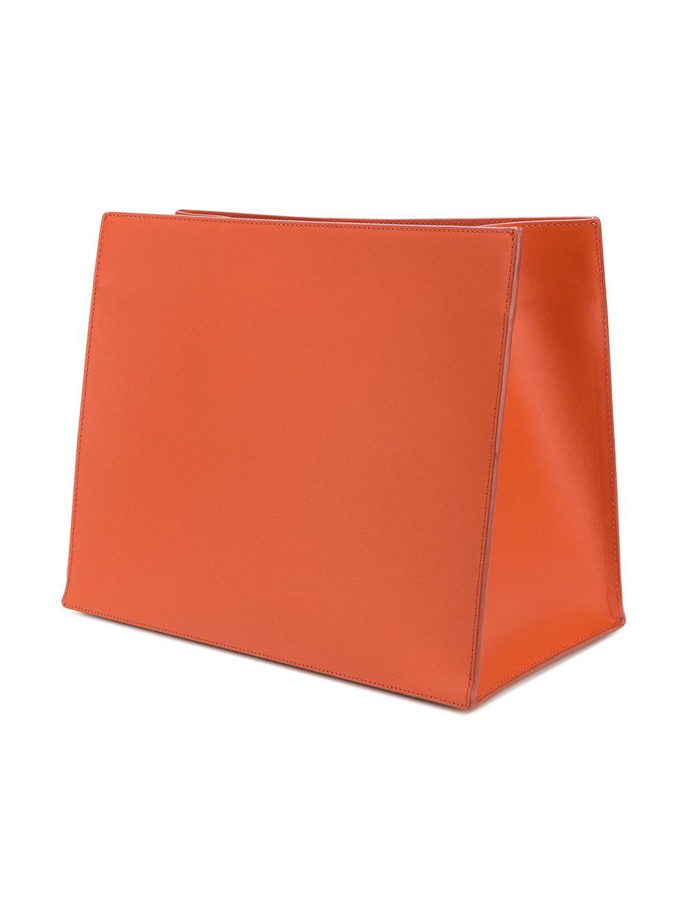 Danse Lente Leather Young Tote in Yellow & Orange (Orange)