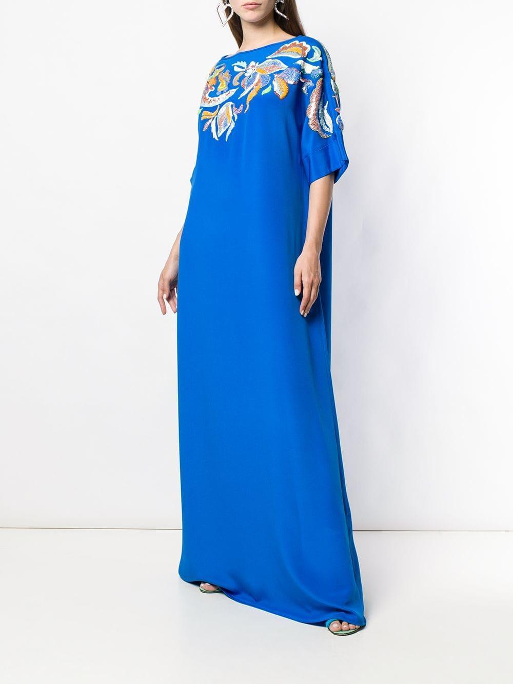 Caftán largo con bordado de lentejuelas Emilio Pucci de Seda de color Azul