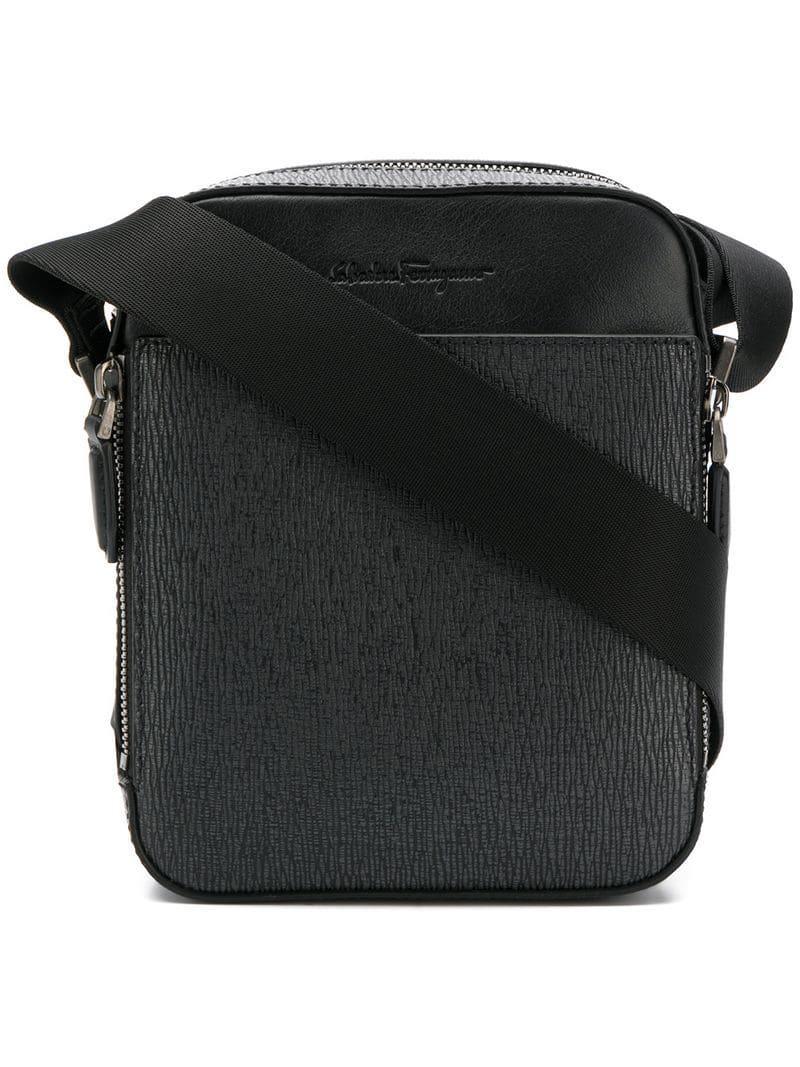 Ferragamo - Black Logo Embossed Messenger Bag for Men - Lyst. View  fullscreen 3ce56ffd4c