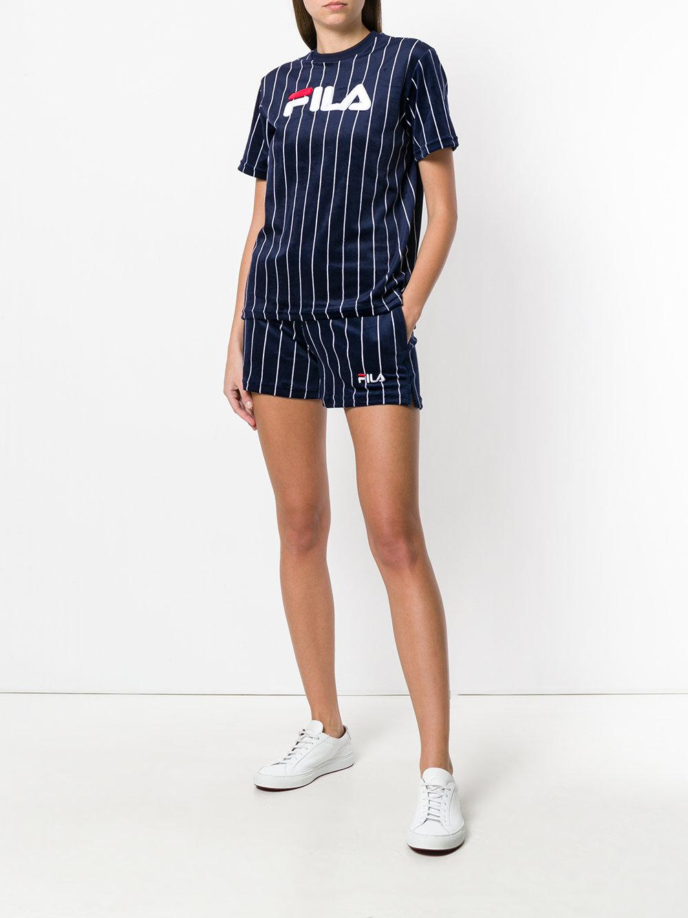 Fila Synthetic Striped Shorts in Blue