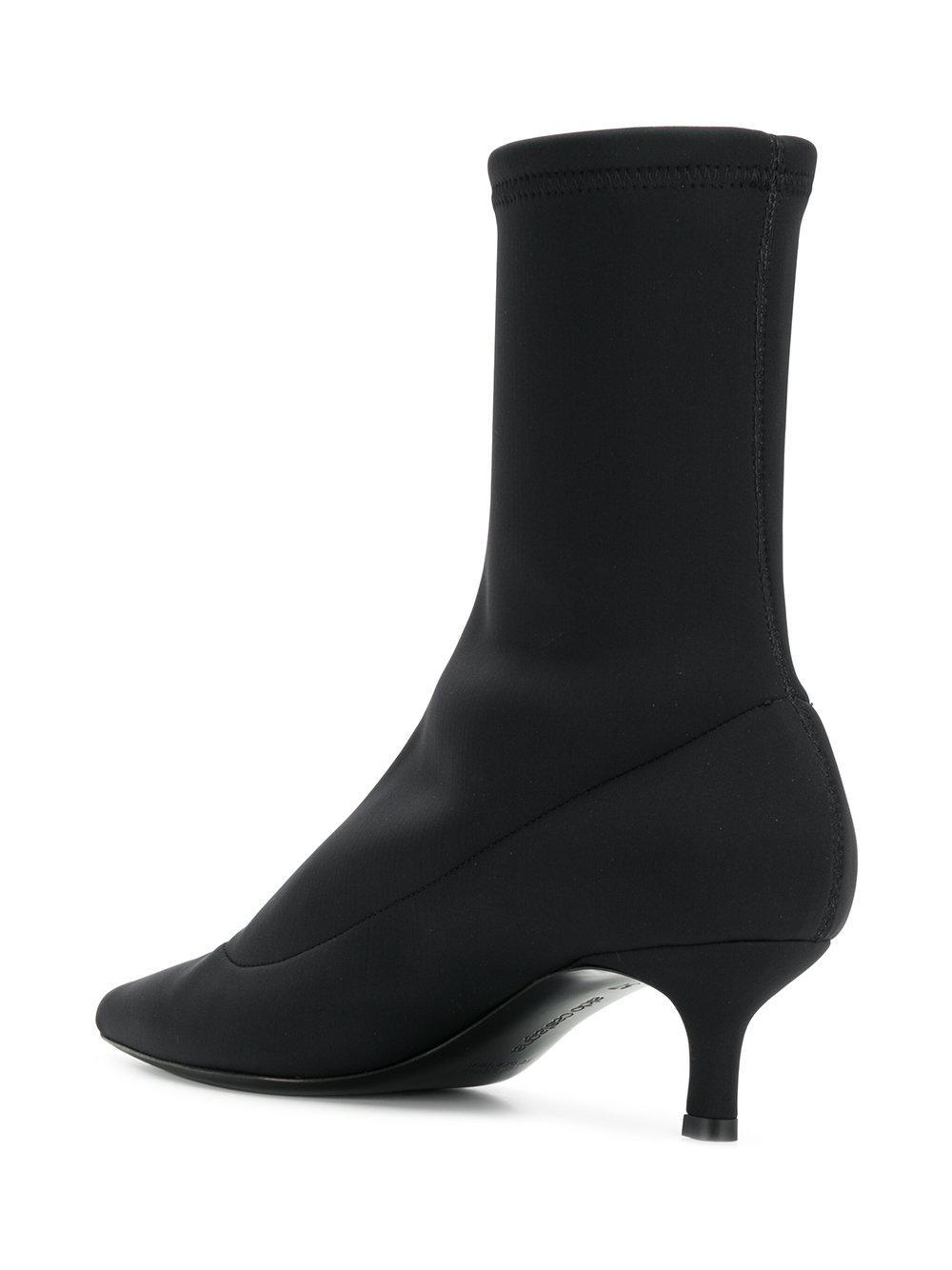 Aldo Castagna Leather Kitten Heel Sock Boots in Black