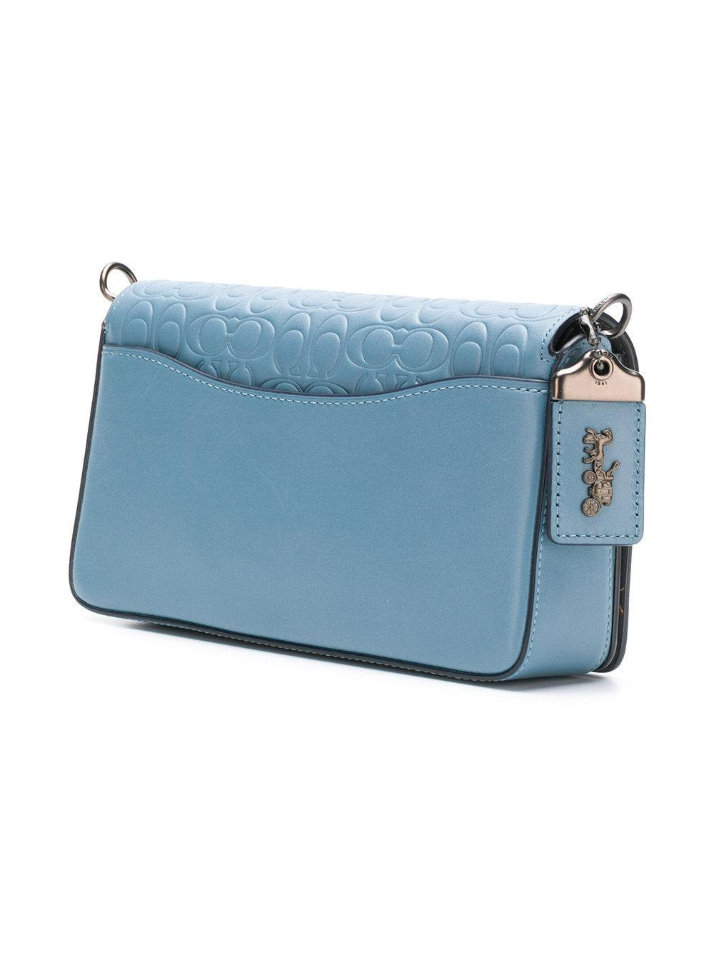 COACH Leather Square Shaped Crossbody Bag in Blue