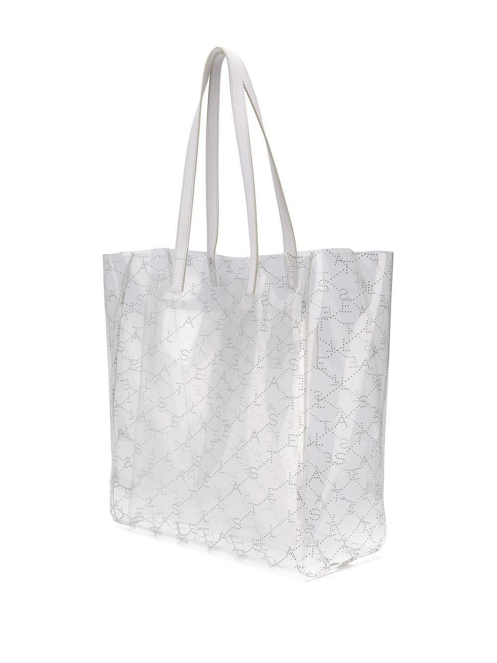 Sac cabas transparence médium Stella McCartney en coloris Blanc