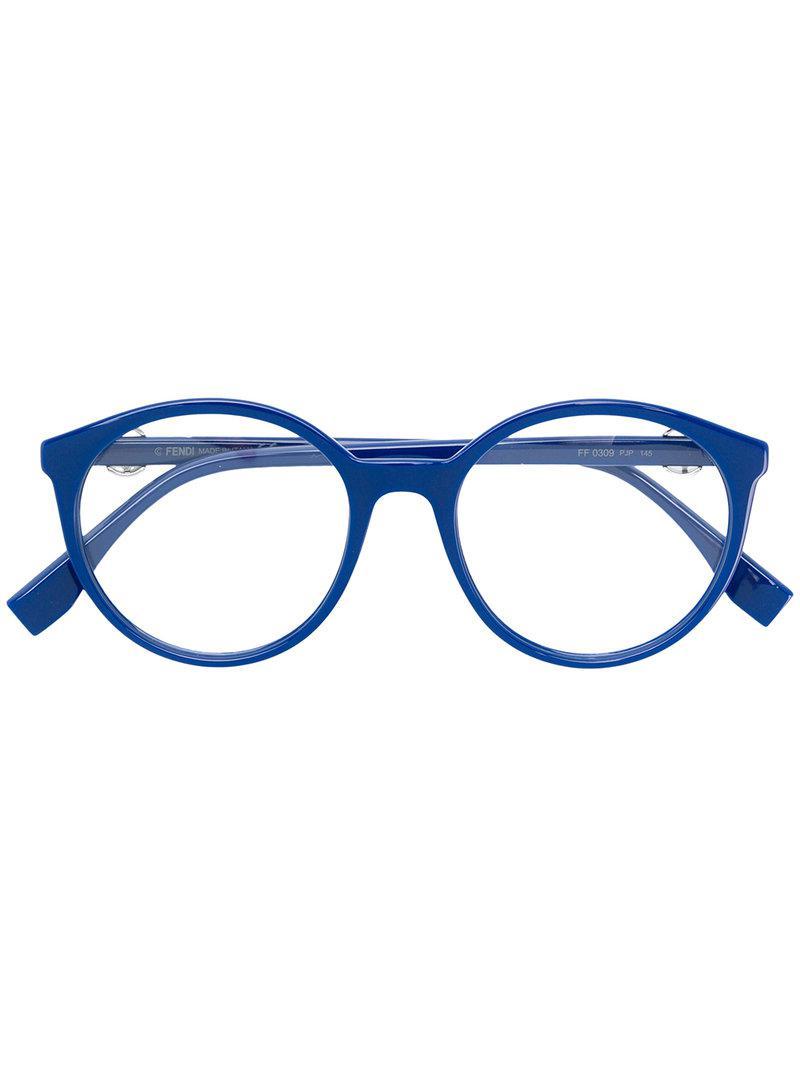 4e8442fc2258a Lyst - Lunettes à monture ronde Fendi en coloris Bleu