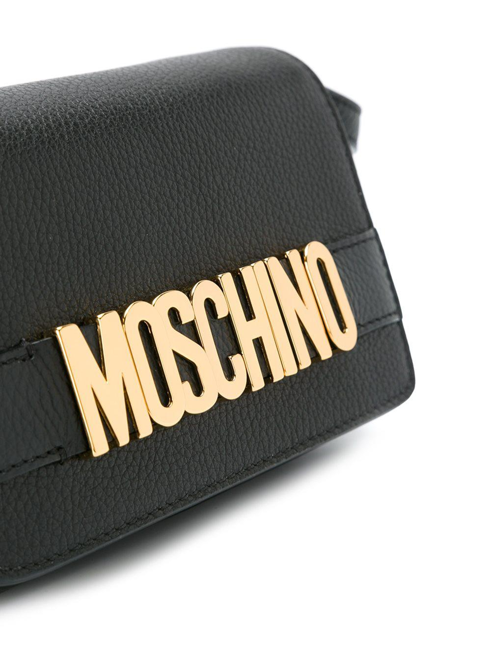 Moschino Leather Logo Crossbody Bag in Black