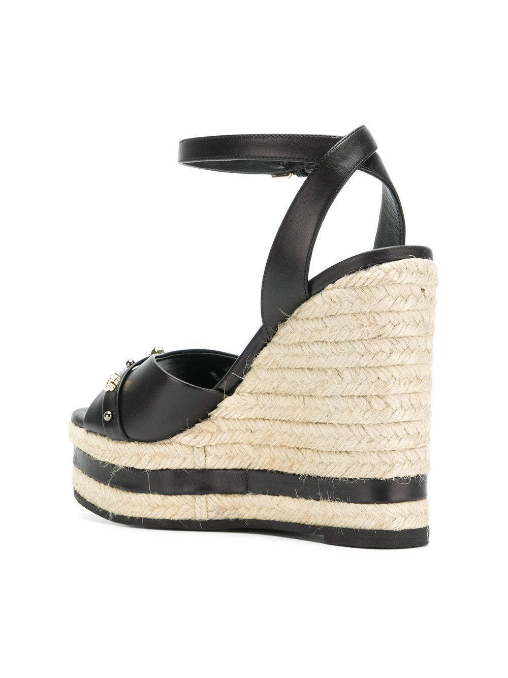 Versace En Compensées Black Coloris Sandales Medusa NOyv8m0wn
