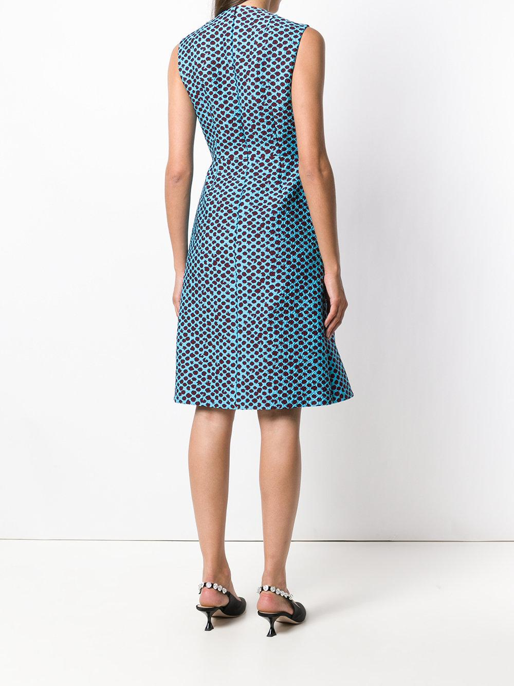 Delpozo Silk Textured Print Sundress in Blue