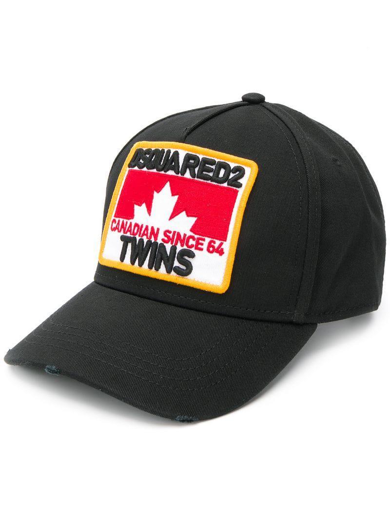e8da8c3e020b2 Lyst - Dsquared² Canadian Twins Baseball Cap in Black for Men
