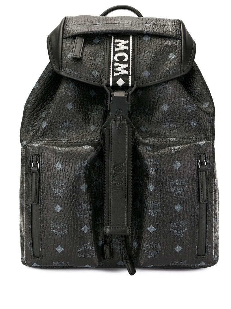 a264ae037878 MCM - Black All-over Print Backpack for Men - Lyst. View fullscreen
