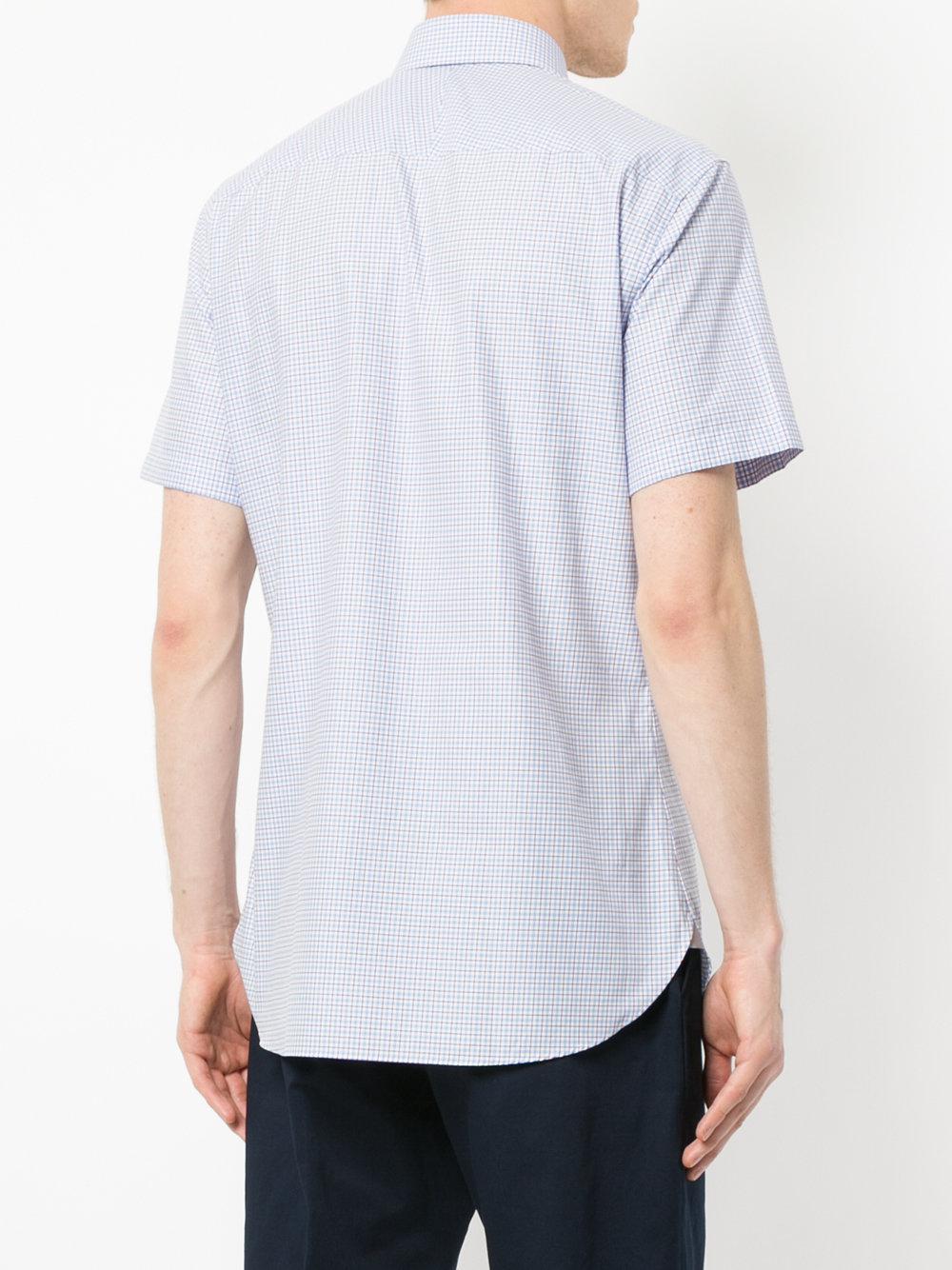 Gieves & Hawkes Katoen Geruit Overhemd Met Korte Mouwen in het Blauw voor heren