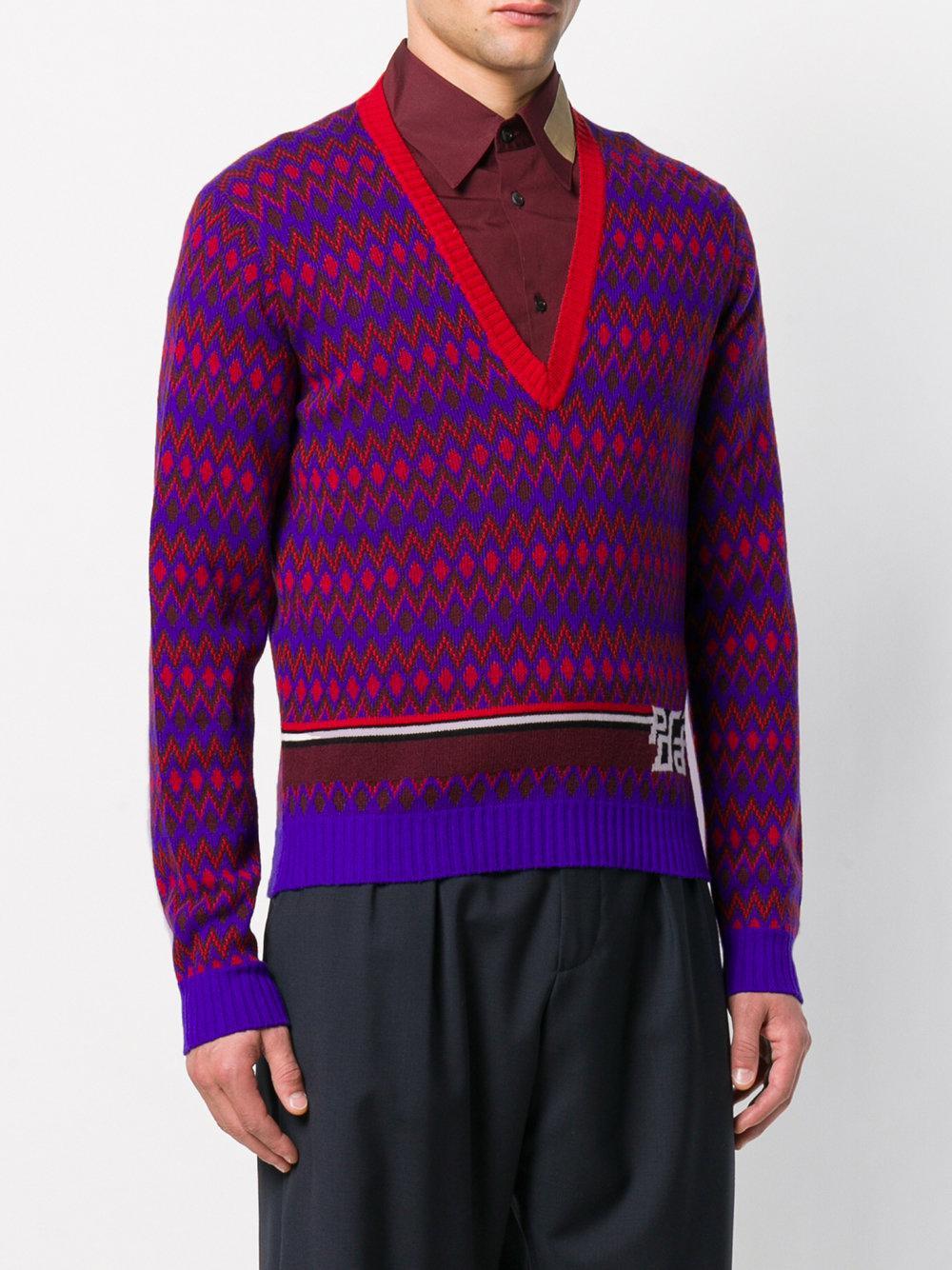 8d4a956b8 Lyst - Prada V-neck Intarsia Logo Sweater in Blue for Men