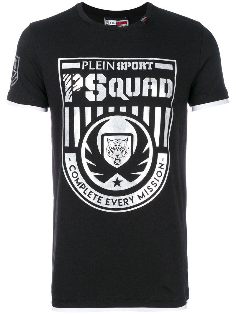 Lyst philipp plein logo print t shirt in black for men for Logo print t shirt
