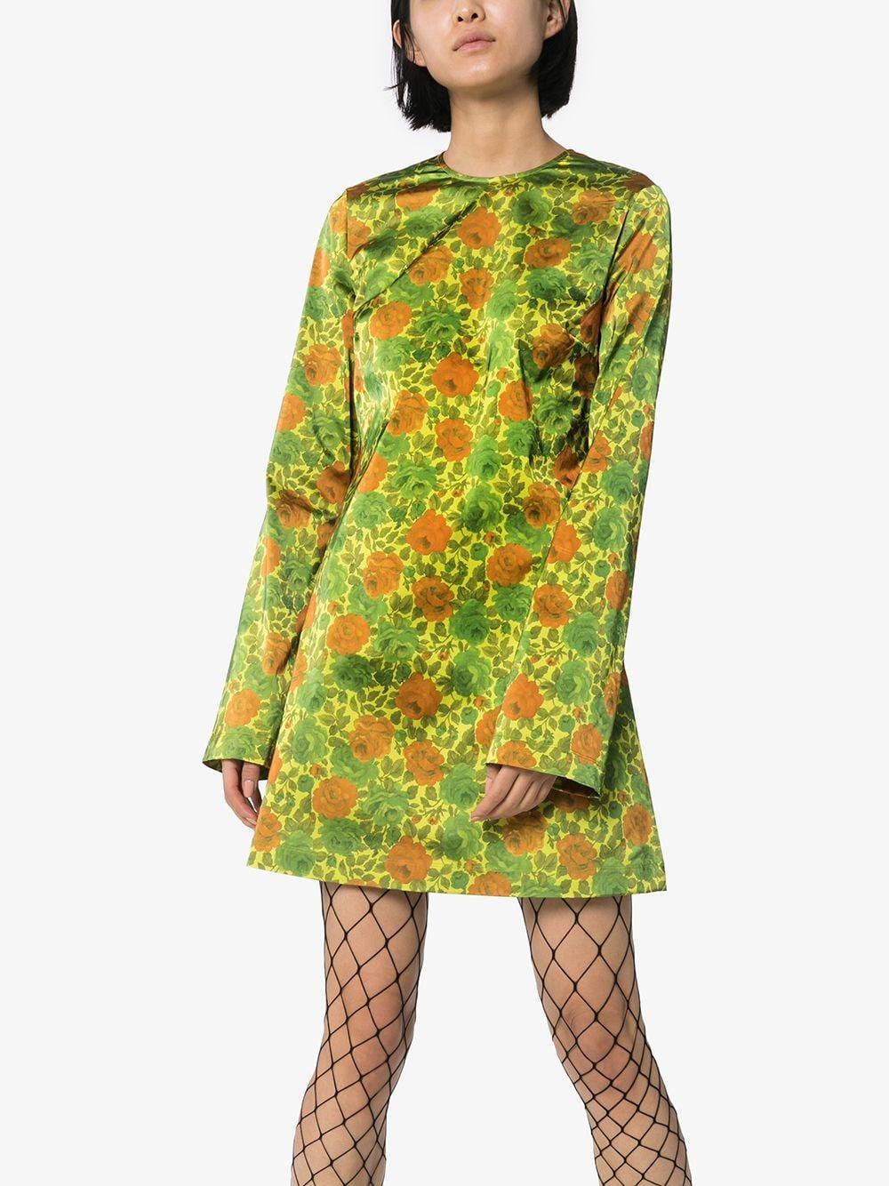 Vestido corto con motivo floral Marques'Almeida de Raso de color Verde
