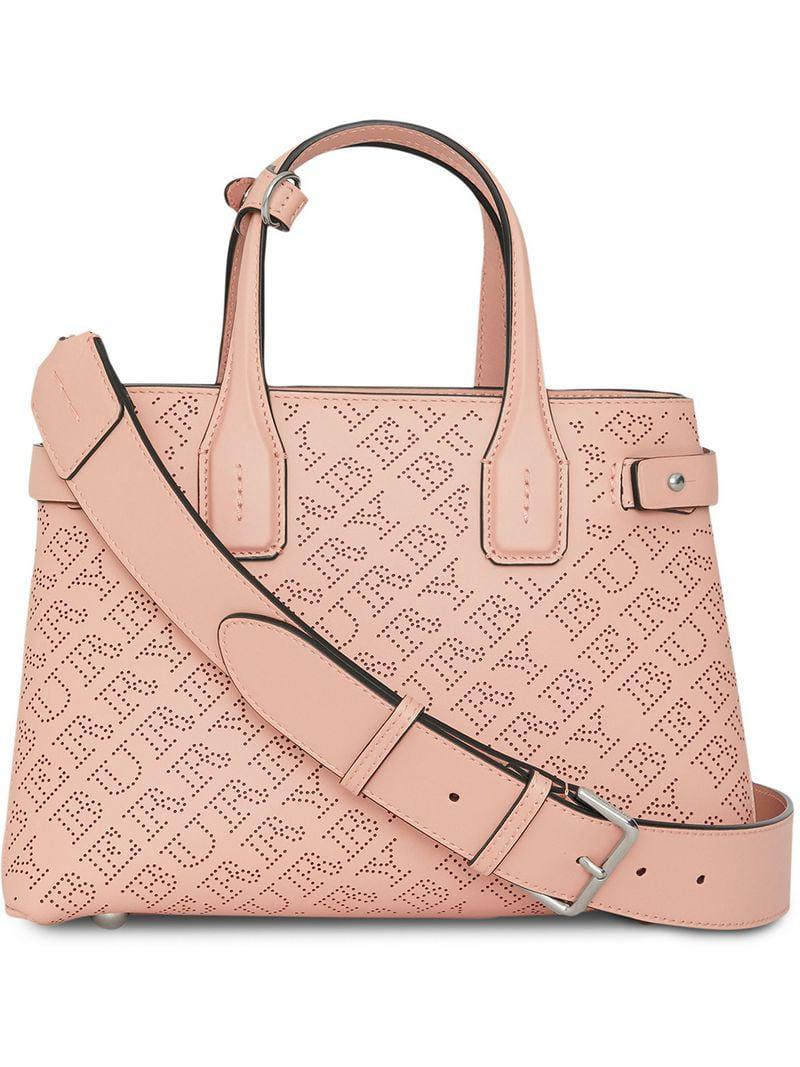 6ea65a5a2d4a Lyst - Burberry The Small Banner In Perforated Logo Leather in Pink