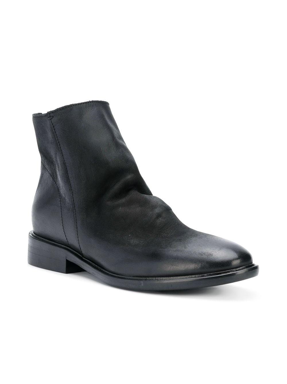 Strategia Leather Slouchy Ankle Boots in Black