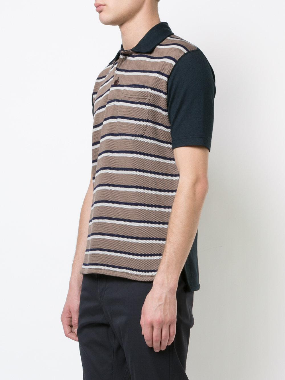 Junya Watanabe Cotton Striped Polo Shirt in Blue for Men