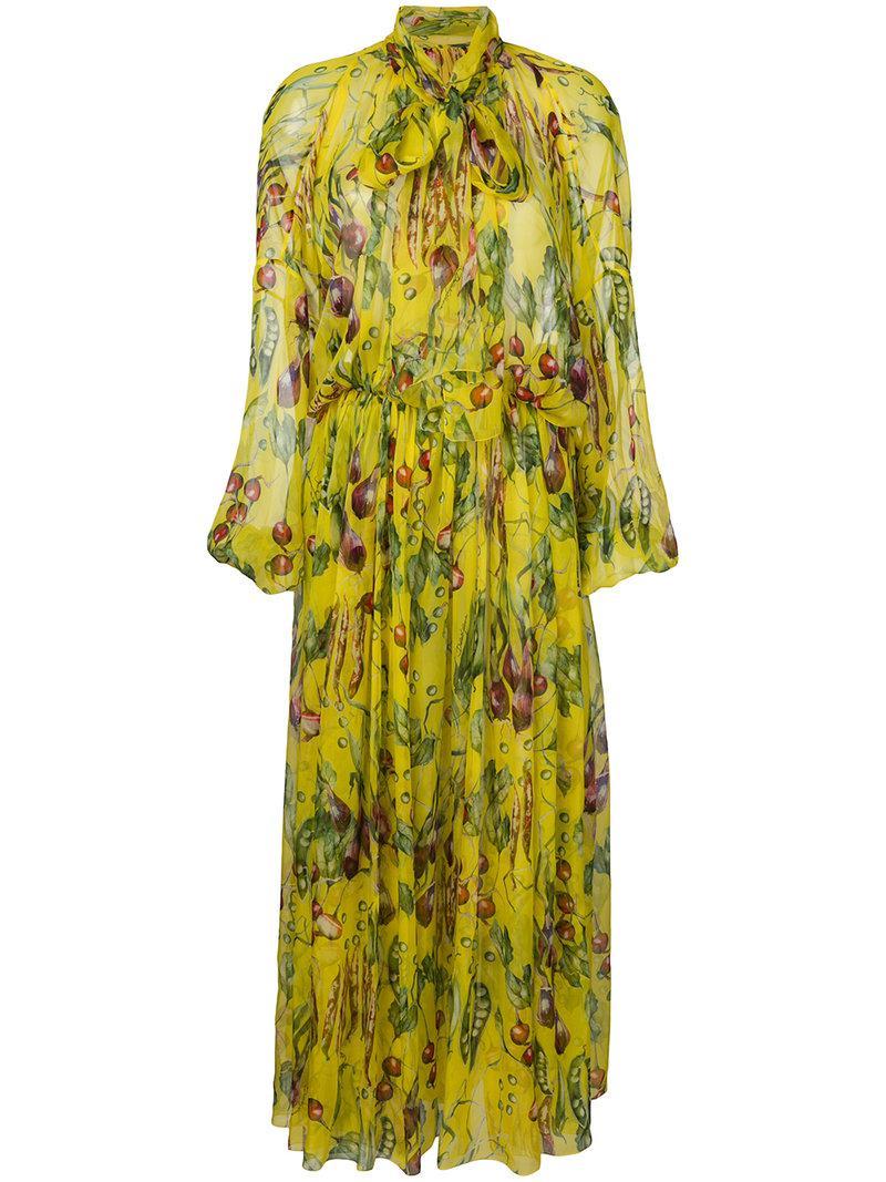 bc85e283 Dolce & Gabbana Vegetables Print Maxi Dress in Yellow - Lyst