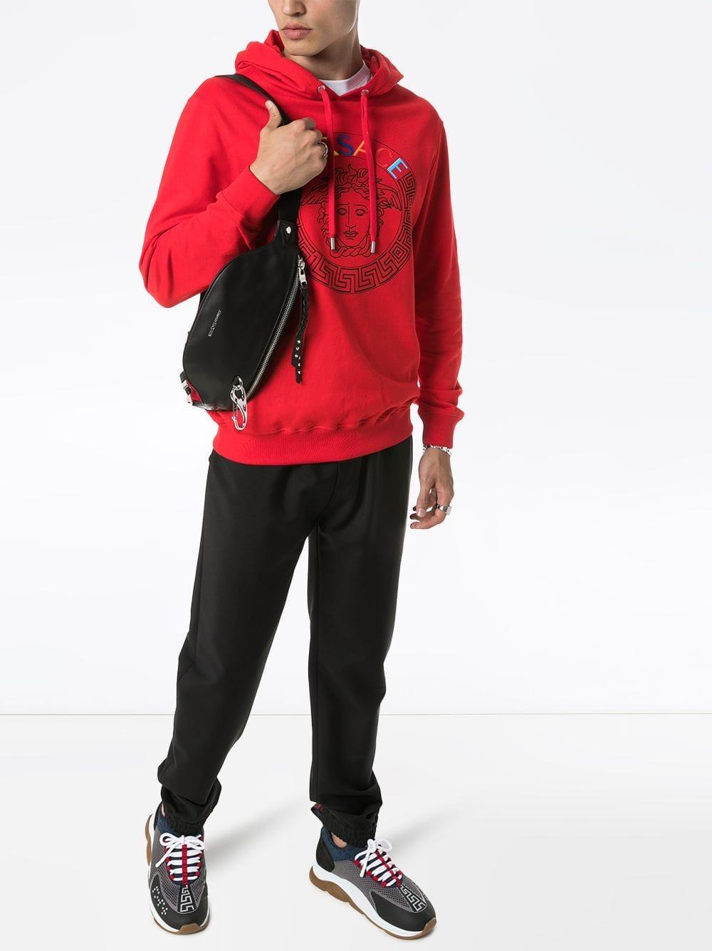 Versace Katoen Hoodie Met Logoprint in het Rood voor heren