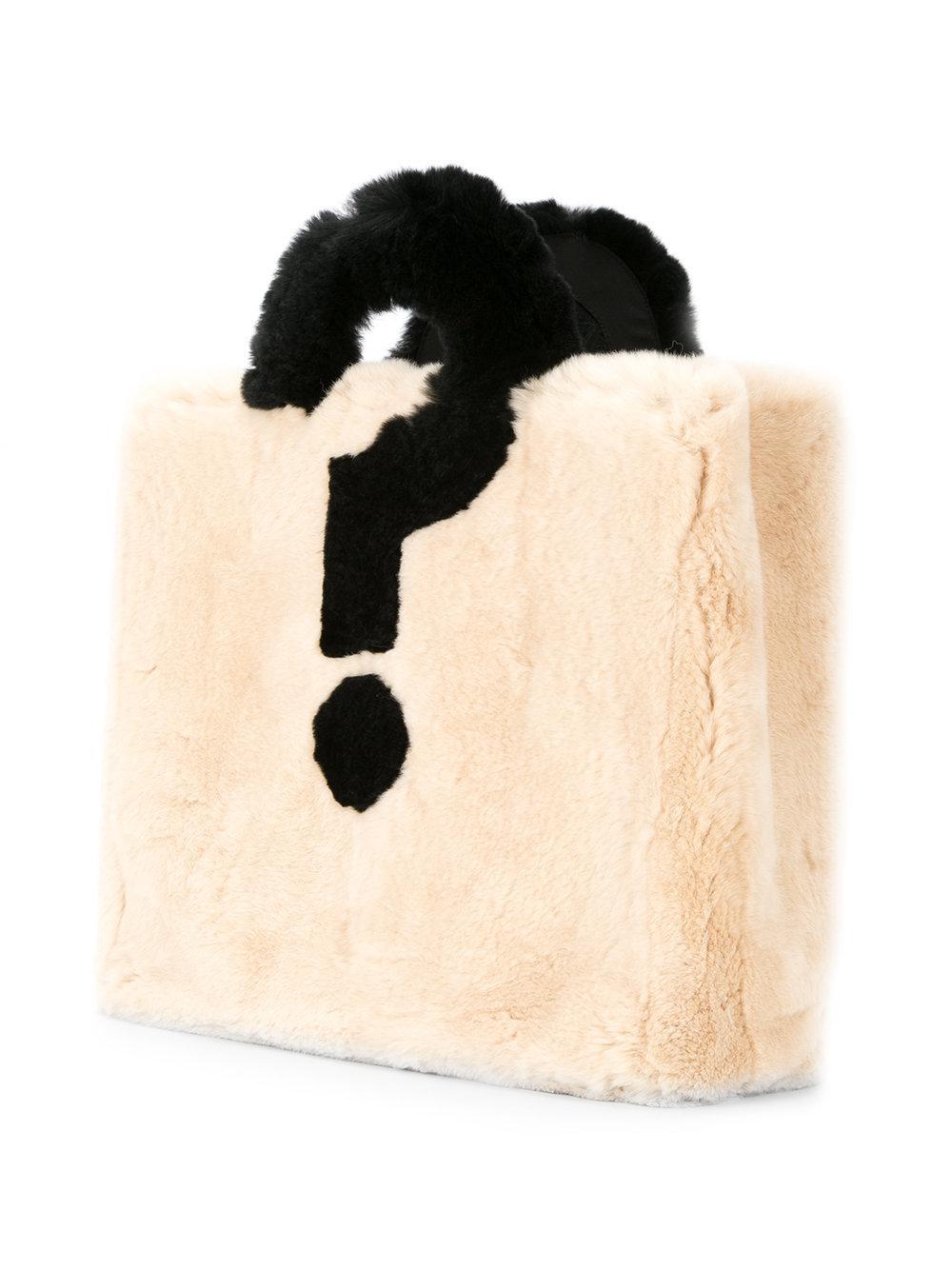 Tu Es Mon Tresor Fur Question Mark Tote in White