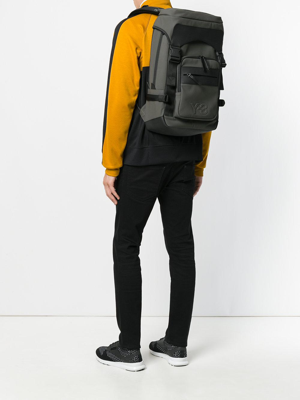 Y-3 Leather Trim Ultratech Backpack in Green for Men