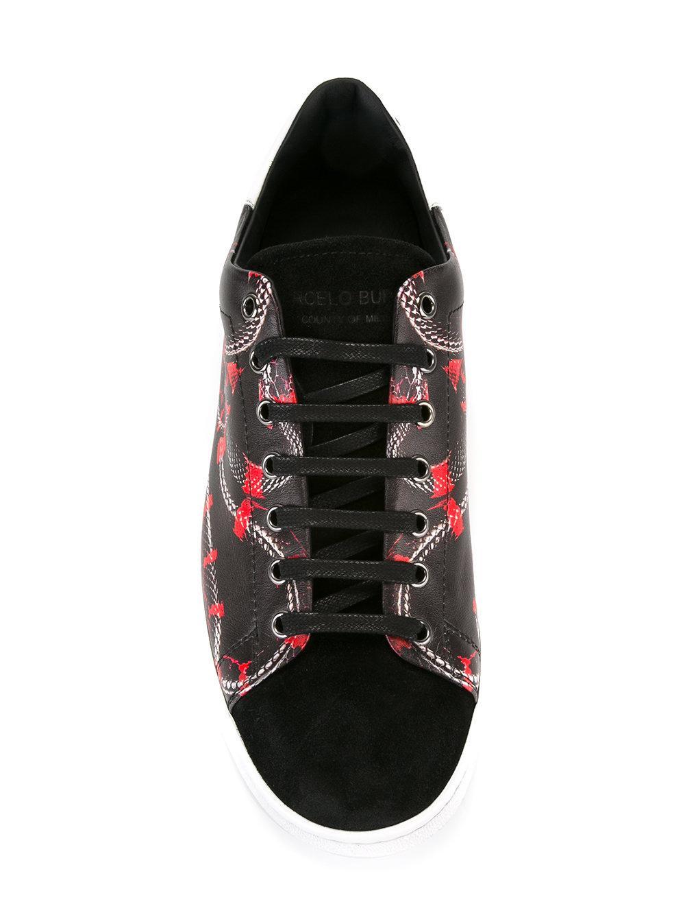 Marcelo Burlon Leather Isabel Stan Sneakers in Black