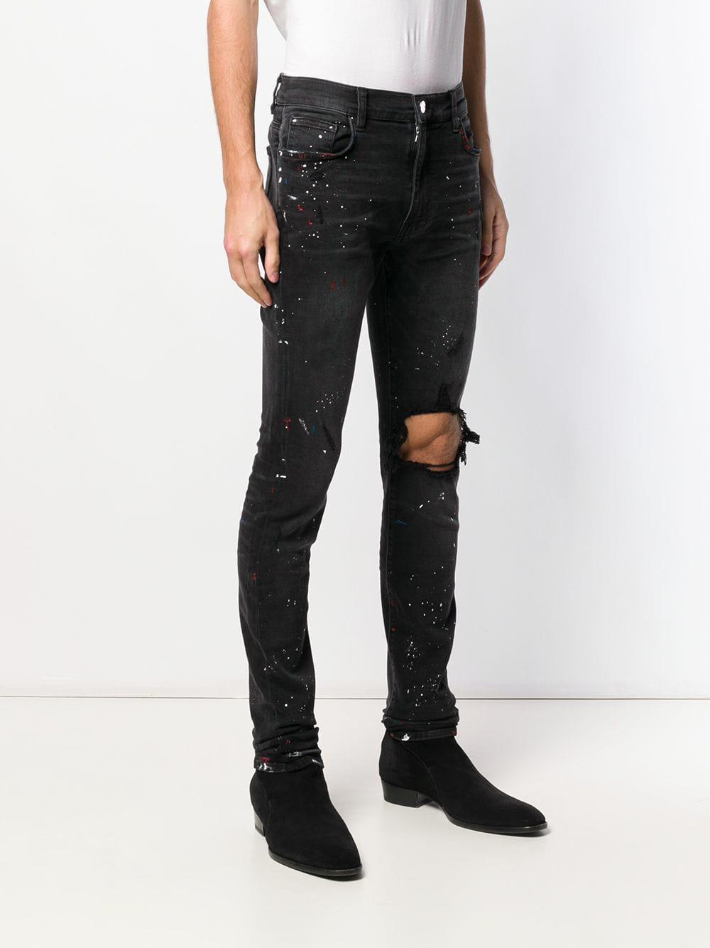 Amiri Synthetic Paint Splatter Skinny Jeans in Black for Men   Lyst