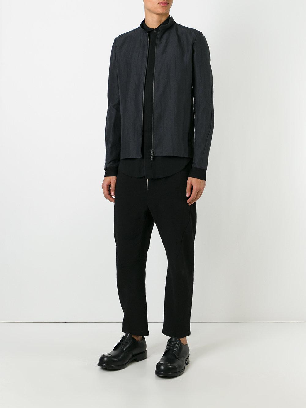 DEVOA Linen Stripe Jacket in Grey (Grey) for Men