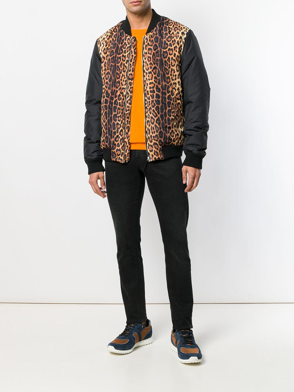 Moschino Synthetic Animal Print Bomber Jacket in Black for Men