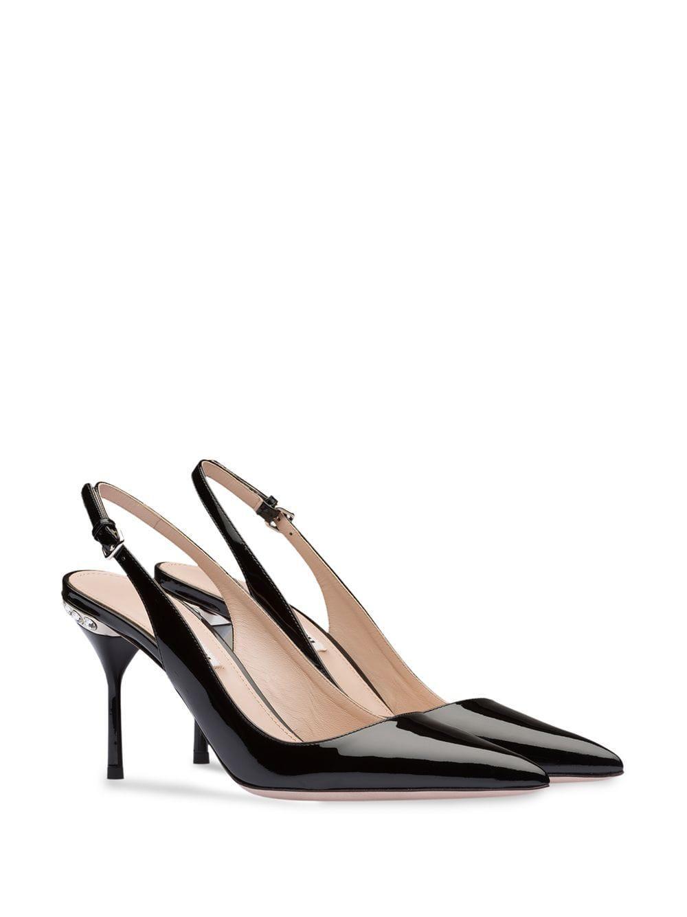 Zapatos de tacón con detalles de cristal Miu Miu de color Negro