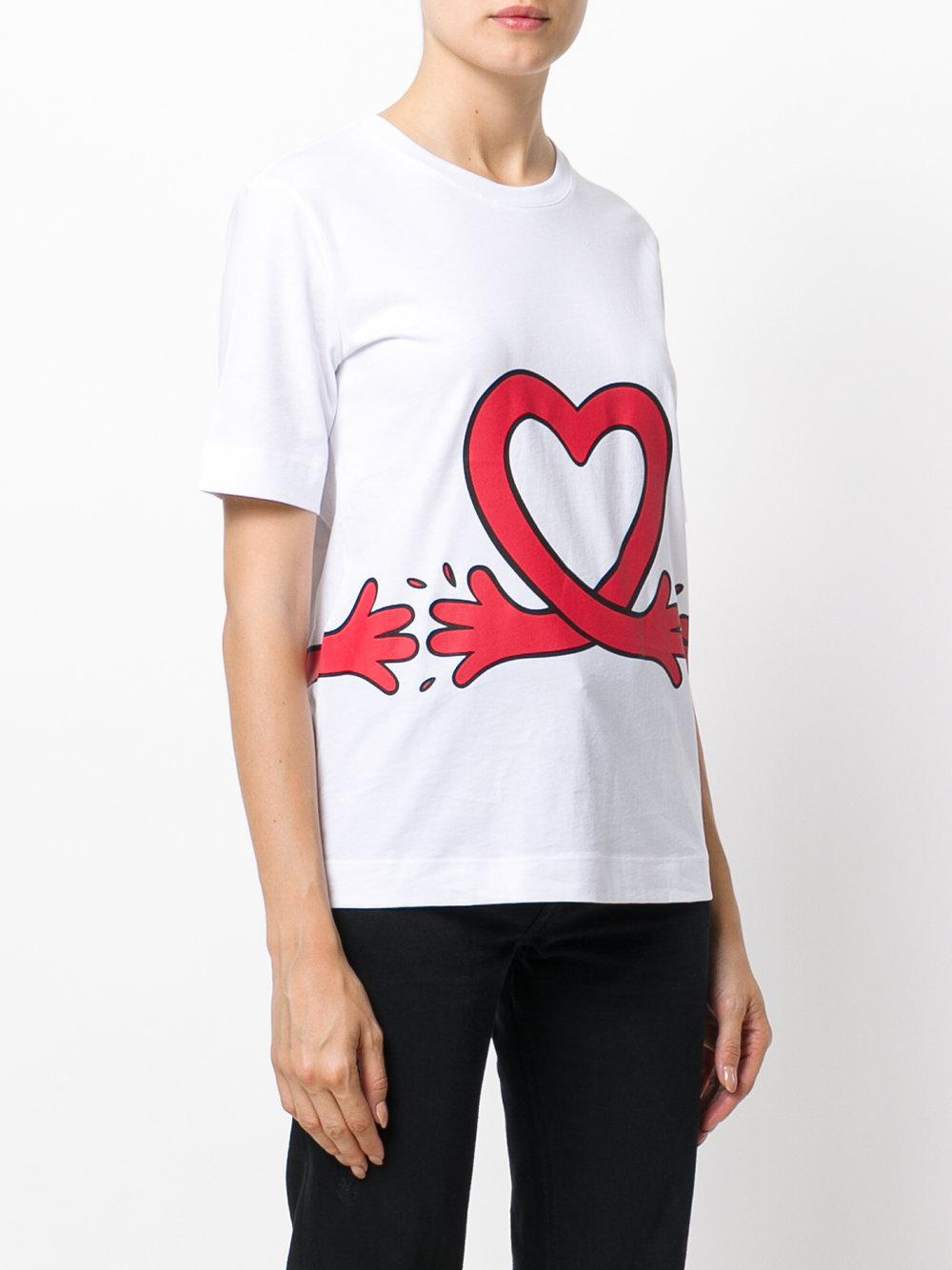 lyst love moschino heart t shirt in white. Black Bedroom Furniture Sets. Home Design Ideas