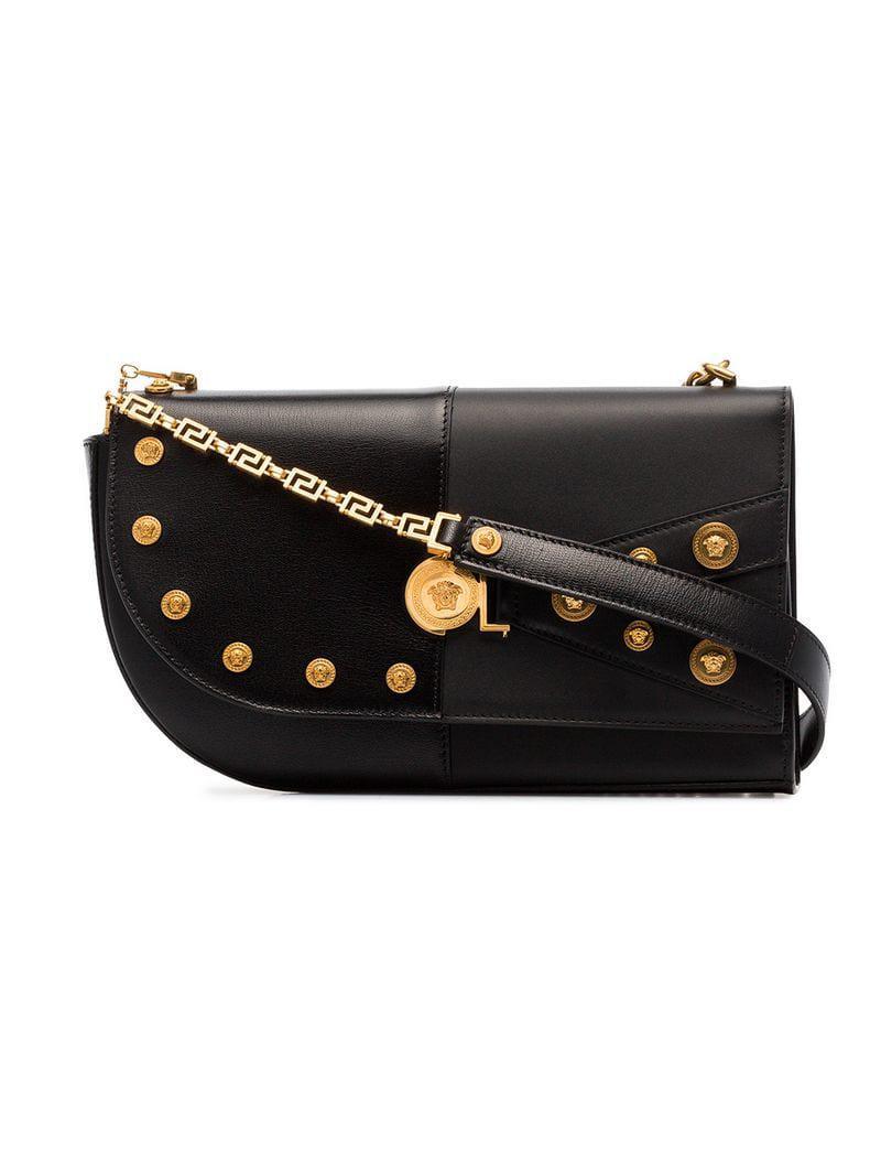 Versace Studded Leather Shoulder Bag in Black - Lyst dc42609d5e857