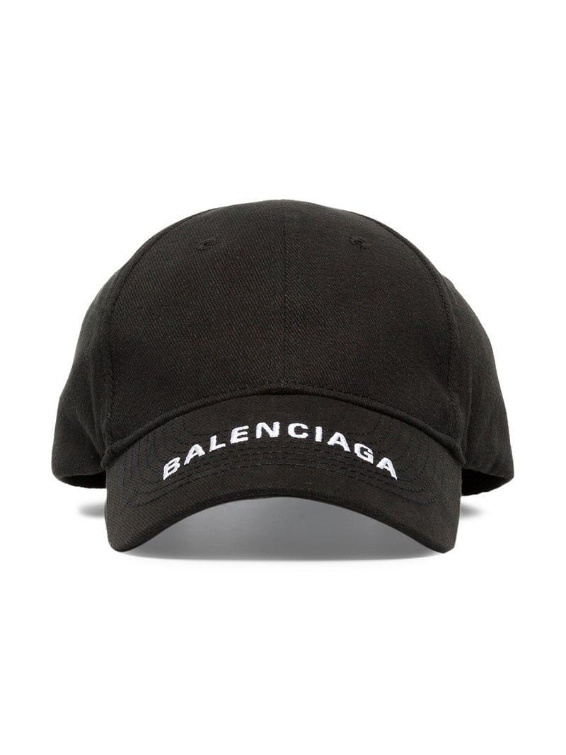 20268d28f51 Balenciaga Black Logo Embroidered Cotton Cap in Black for Men - Save ...