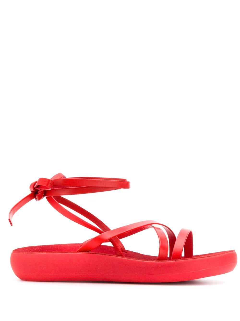 Tira El Sandalias Sandals Greek Rojo Ancient De Con Color En Tobillo ZiPukX