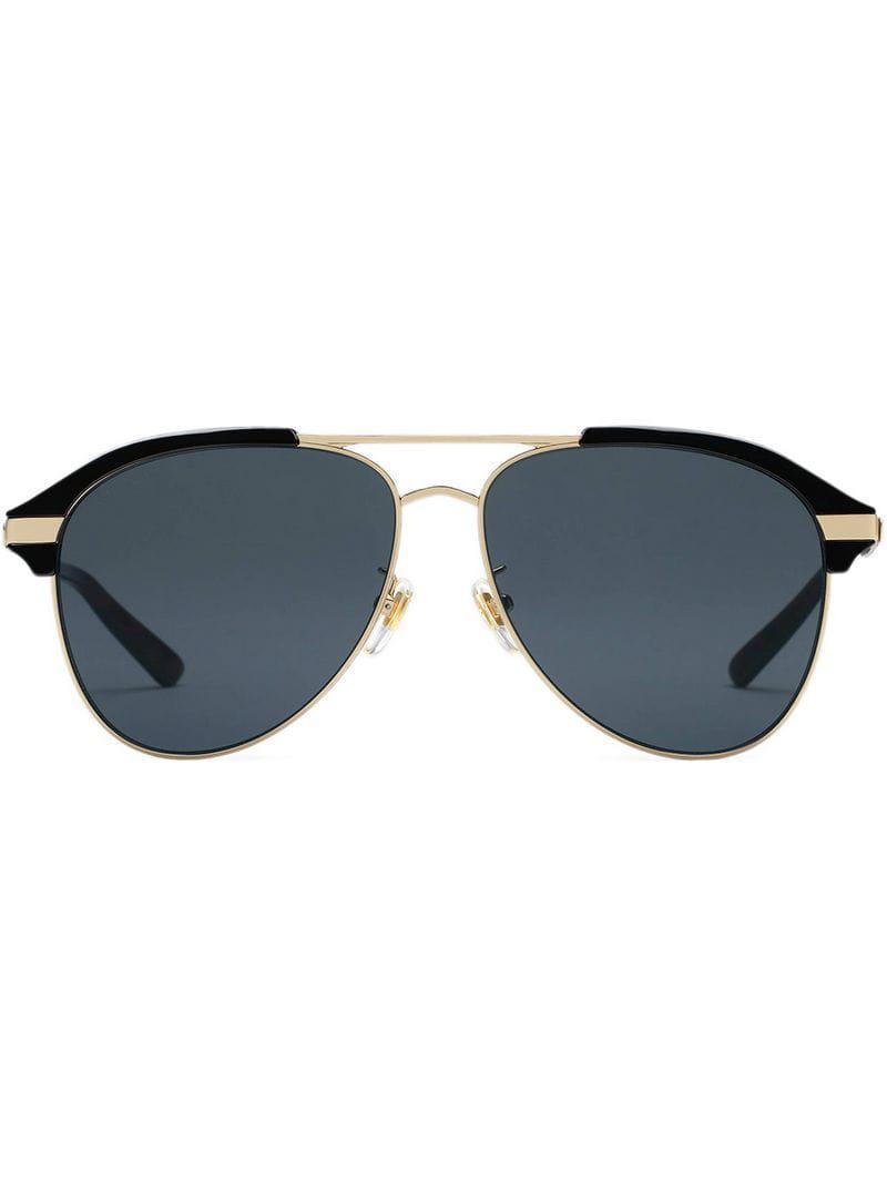 185b4bdd760ed Lyst - Gucci Specialized Fit Aviator Metal Sunglasses in Metallic ...